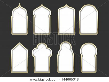Set of different golden arched windows or doors in the Eastern or Arabic style. Vector graphics for postcards and icons, covers. Background for the sign