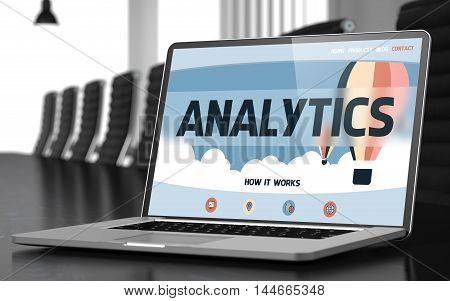 Analytics - Landing Page with Inscription on Mobile Computer Display on Background of Comfortable Conference Room in Modern Office. Closeup View. Toned Image. Selective Focus. 3D Illustration.