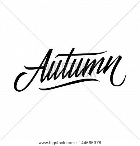 Hand lettered word Autumn. Calligraphic season inscription. Hand drawn element for your design. Vector handwritten typography.