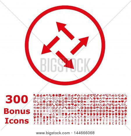 Centrifugal Arrows rounded icon with 300 bonus icons. Vector illustration style is flat iconic symbols, red color, white background.