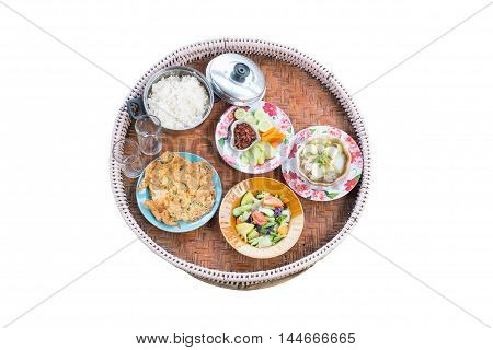 Traditional Northern Thai food. Set of Thai food on white background with clipping path