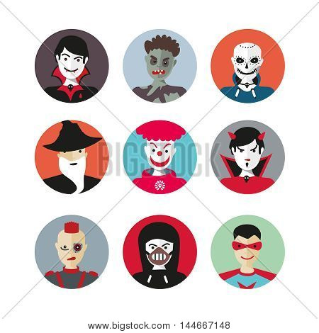 People in costumes. Avatar set for Halloween. Isolated flat icons.