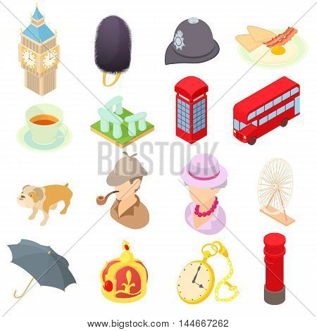 Great Britain icons set in isometric 3d style. London set collection vector illustration