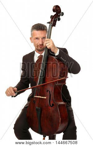 Man playing cello on white background