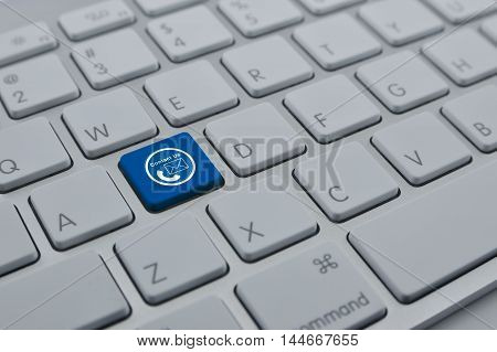 Telephone and email icon on modern computer keyboard button Contact us concept