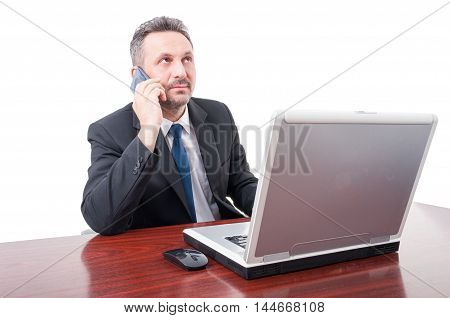 Young Broker Talking Business On Cellphone