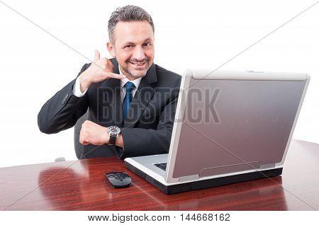 Joyful Executive Manager Doing Call Gesture