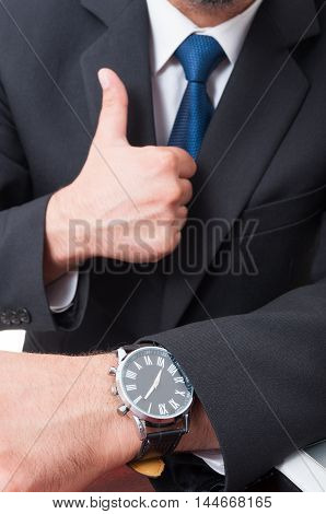Successful Broker Doing Like Sign In Close-up