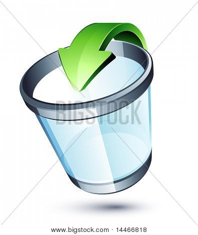 Transparent trash can and green arrow