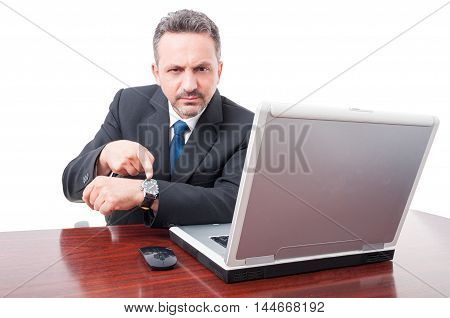 Serious Lawyer Showing His Wristwatch