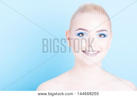 Girl Smiling Wearing Professional Cool Make-up