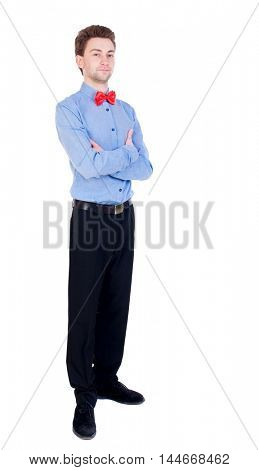 Referee suit and tie butterfly separates boxers. white background. Proud businessman standing arms folded