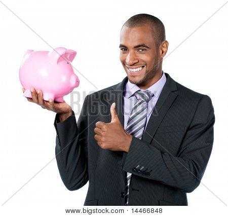 businness black man with piggy bank