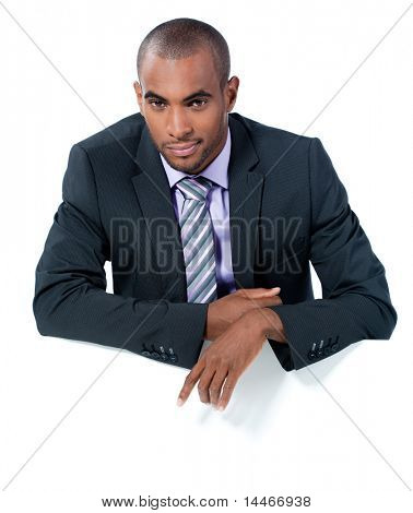 black businessman with panel