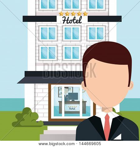 receptionist hotel service isolated icon vector illustration design