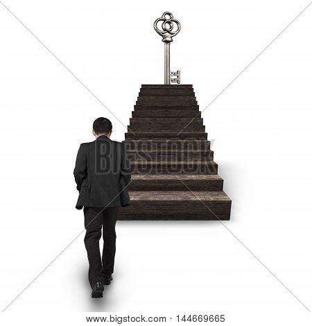 Man Walking Toward Treasure Key On Top Of Stairs