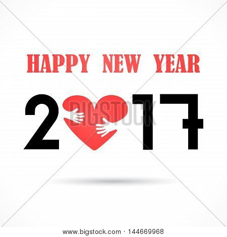 201 and 7 and heart hand sign with holiday background concept.Happy new year 2017 holiday background.2017 Happy New Year greeting card.Vector illustration