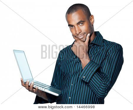 Black man with laptop