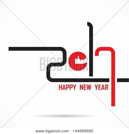 201 and 7 and good hand sign with holiday background concept.Happy new year 2017 holiday background.2017 Happy New Year greeting card.Vector illustration