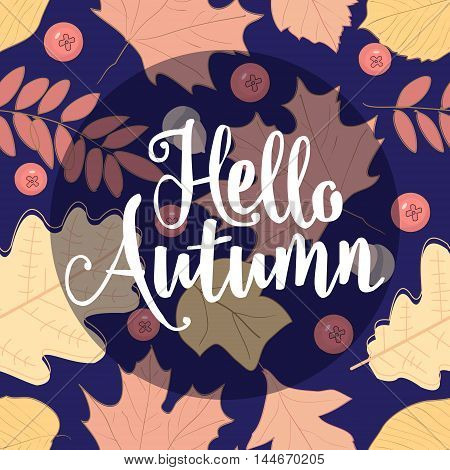 Autumn seamless pattern with leaf, The inscription, the lettering on the theme of autumn