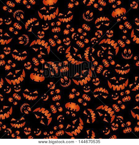 Halloween black doodle background with scary silhouettes