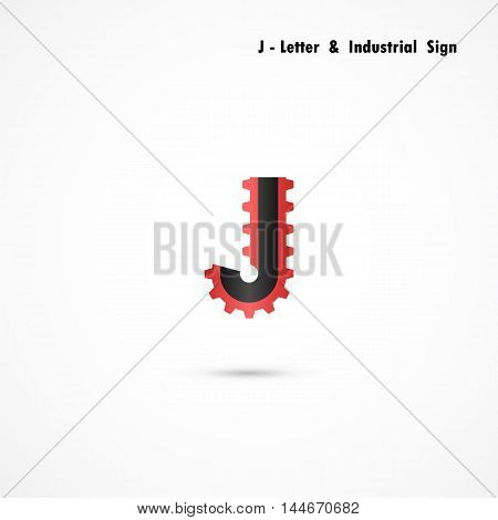 J-letter and gear icon design vector template.J-alphabet vector design.Business and industrial creative symbol.Vector illustration