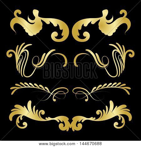 Vector set of decorative golden hand drawn elements with flowers for design