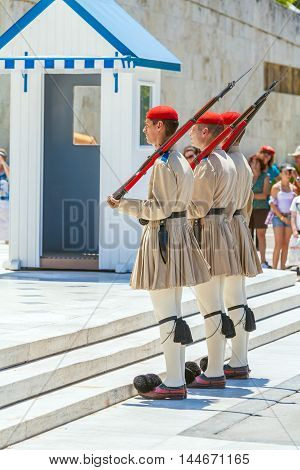 Athens, Greece - June 08, 2009: The Changing Of The Guard Ceremony In Front Of The Greek Parliament