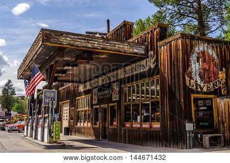 Winthrop Wa. USA - June 18 2009 : General store and Chevron Gas Station in Winthrop Washington State USA