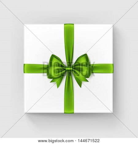 Vector White Square Gift Box with Shiny Light Green Satin Bow and Ribbon Top View Close up Isolated on White Background