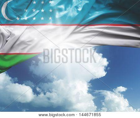 Uzbekistan flag on a beautiful day