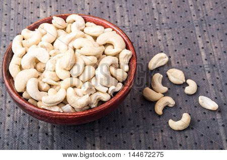 Selective Focus On At The Tasty And Healthy Raw Cashew Nuts