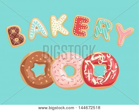 Donuts Poster. Vector illustration.