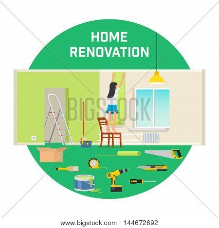 Room repair in home. Interior renovation in apartment and house. girl sticks Wallpaper in the room. Flat style vector illustration.
