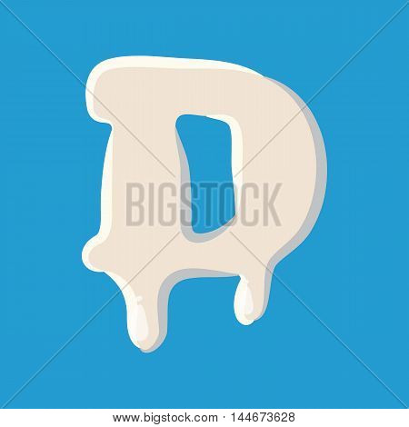 C letter isolated on baby blue background. Milky C letter vector illustration
