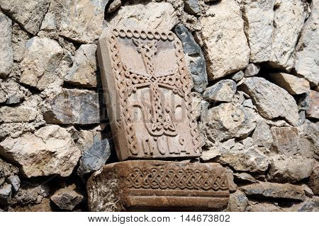 Sacred place at ancient monastery Khor Virap in the mountains of Armenia. Was founded in years 642-1662.