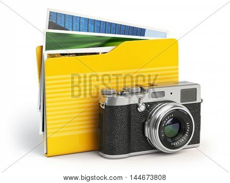 Photo album pc folder icon. Photo camera and folder isolated on white. 3d illustration