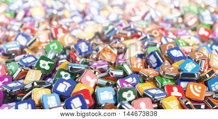 Smartphone apps. Application internet software icons background. 3d illustration