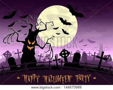 Halloween background. Scary monsters trees on old cemetery backdrop moon bats and graves. Design for concept banner poster cards or invites on party. Cartoon style. Vector illustration