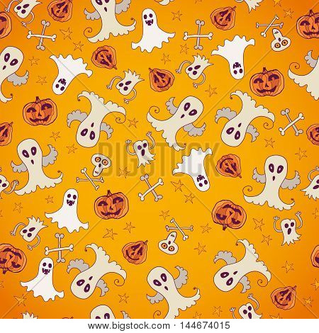 Halloween orange doodle background with scary silhouettes