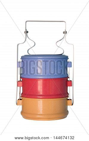 Food carrier colorful layer isolate on white background