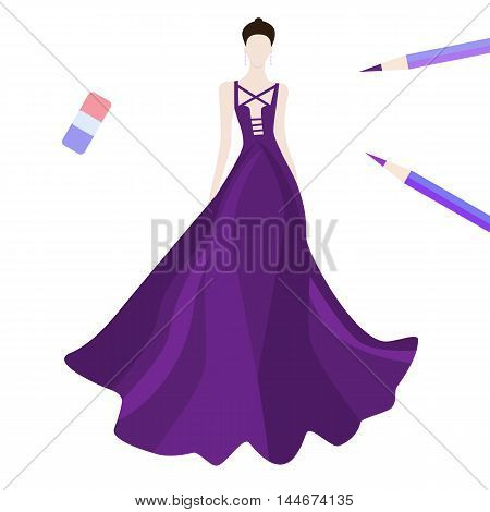 Fashion beautiful brunette woman in stylish red evening dress, vector