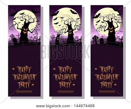 Set Halloween Banners. Scary Monsters Trees On Old Cemetery Backdrop Moon, Bats And Graves. Design F