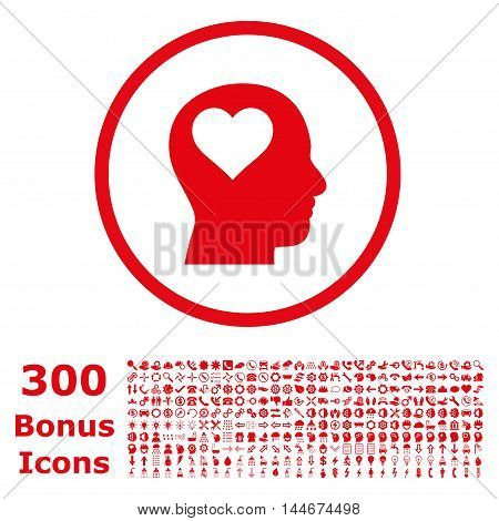 Lover Head rounded icon with 300 bonus icons. Vector illustration style is flat iconic symbols, red color, white background.