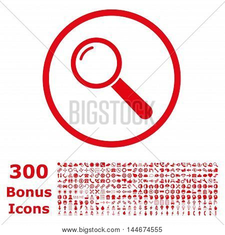 Magnifier rounded icon with 300 bonus icons. Vector illustration style is flat iconic symbols, red color, white background.