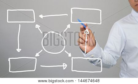 Hand of businessman drawing graphics a symbols geometric shapes graph to input information concept of investment profit in business or management system and have Gray wall of background.
