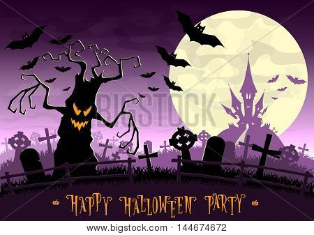 Halloween Background. Monsters Trees On Old Cemetery Backdrop On Scary Castle, Moon, Bats And Graves