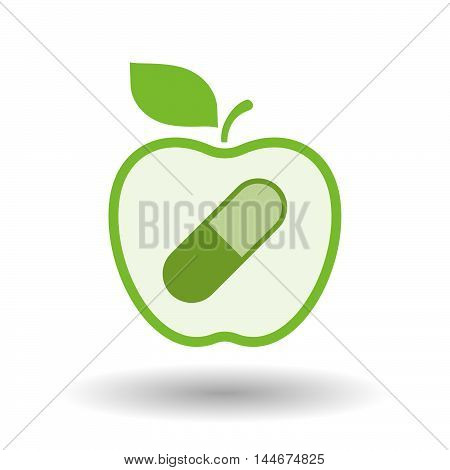Isolated  Line Art Apple Icon With A Pill