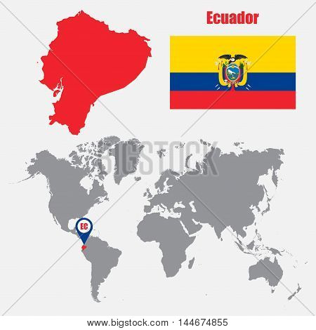 Ecuador map on a world map with flag and map pointer. Vector illustration
