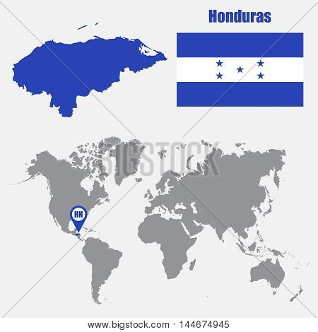 Honduras map on a world map with flag and map pointer. Vector illustration